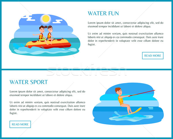 Water Sport Web Set with Text Vector Illustration Stock photo © robuart