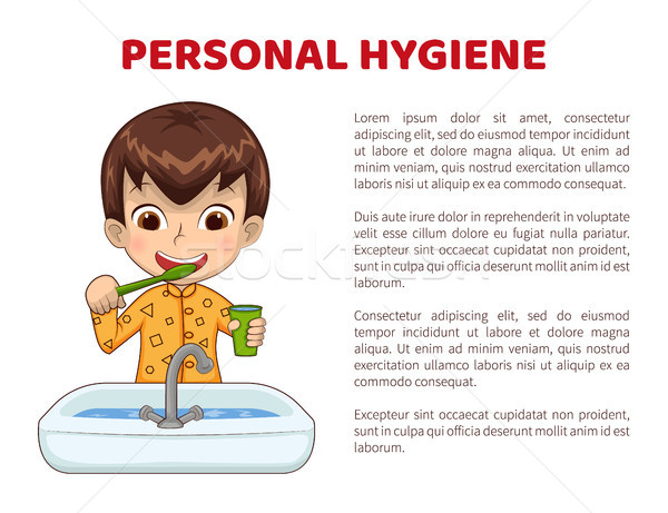 Personal Hygiene Info Poster with Boy in Pajamas Stock photo © robuart