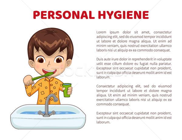 Persönliche Hygiene info Plakat Junge Pyjamas Zähne Stock foto © robuart