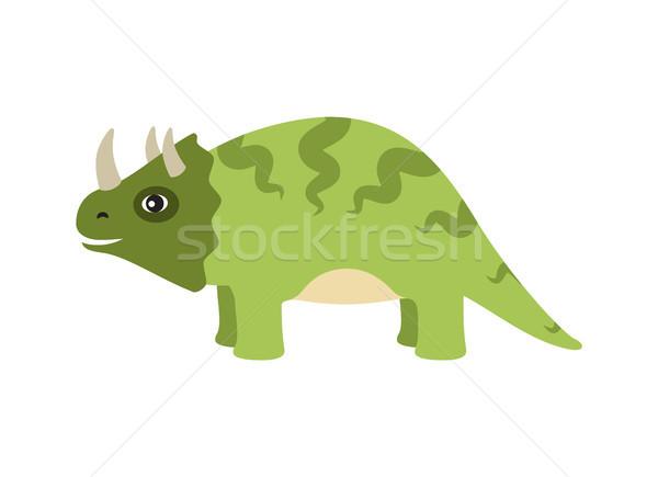 Triceratops Dinosaur Type Vector Illustration Stock photo © robuart