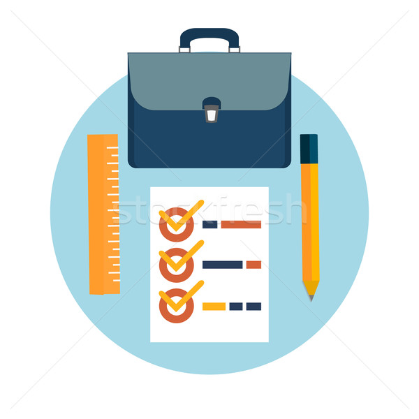 Briefcase, pencil and ruler icons Stock photo © robuart