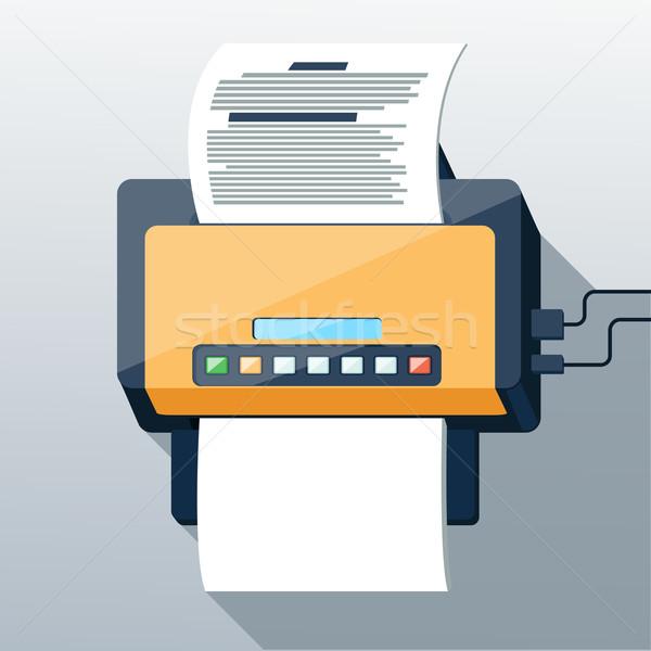 Fax icône design longtemps ombre style Photo stock © robuart