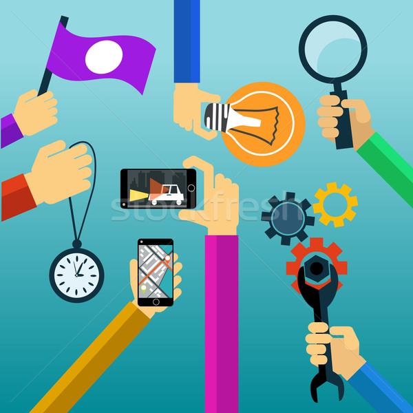 Idea concept lightbulb magnifying glass watch smartphone Stock photo © robuart