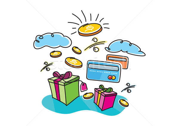 Boxes with gifts shopping interest payment cards Stock photo © robuart