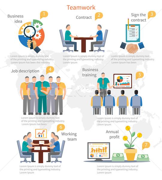 Csapatmunka infografika sablon üzlet kezdet ötlet Stock fotó © robuart
