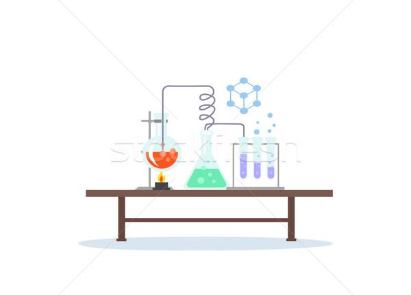 Biológia laboratórium munkaterület tudomány felszerlés orvosi Stock fotó © robuart