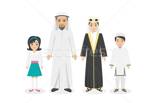 Arabski rodziny ludzi projektu ubrania człowiek Zdjęcia stock © robuart