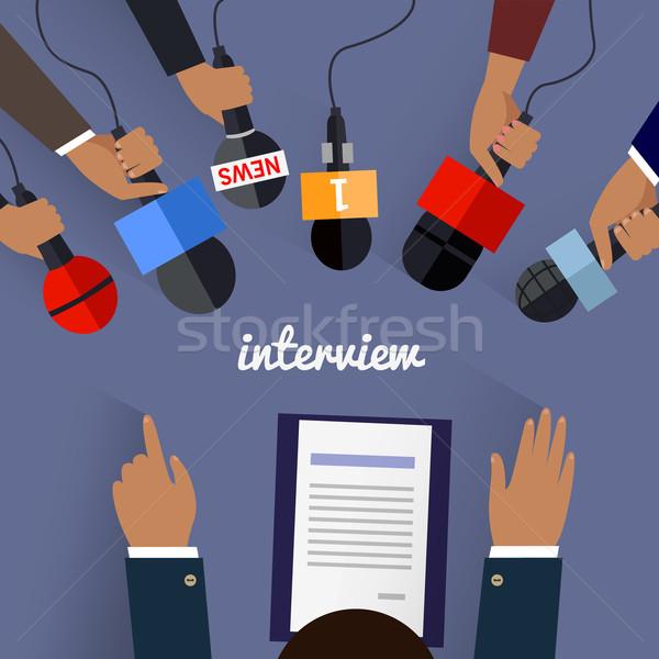Workspace интервью дизайна телевизор микрофона Сток-фото © robuart