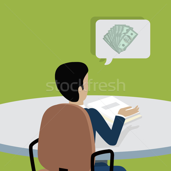 Man at Work Thinks How to Earn More Money. Stock photo © robuart