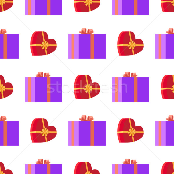 Wrapping Paper with Red and Violet Gift Boxes Stock photo © robuart