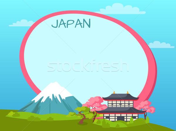Japón etiqueta sakura montanas tradicional Foto stock © robuart