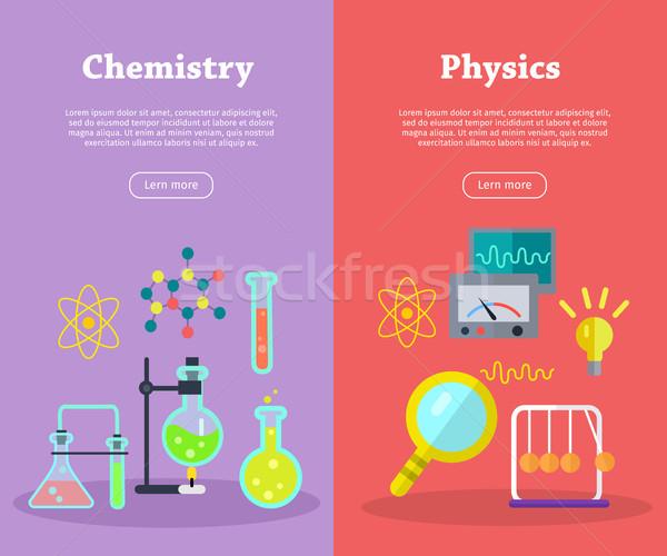Chemie Physik Wissenschaft Banner Vektor chemischen Stock foto © robuart