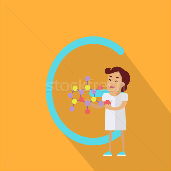 C Letter and Scientist with Chemical Compound Stock photo © robuart