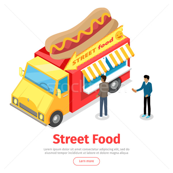 Fast Food Truck Isometric Projection Style. People Stock photo © robuart