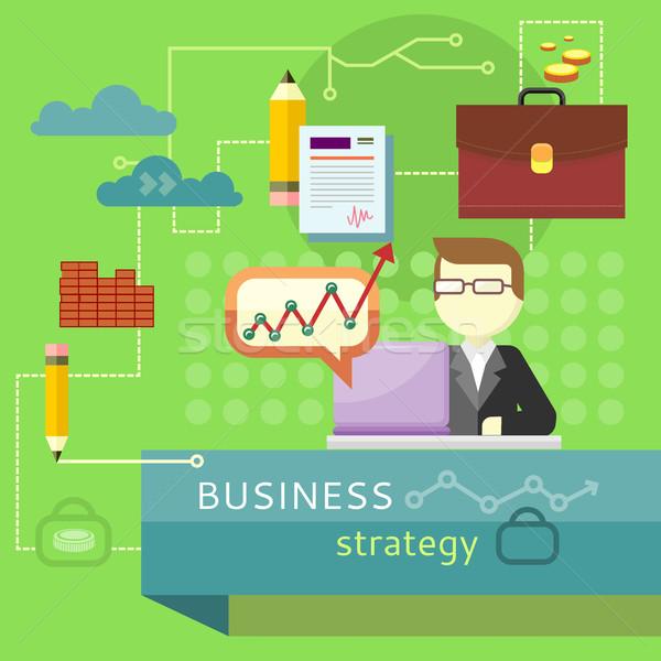 Estrategia de negocios rendimiento análisis banner persona de trabajo Foto stock © robuart