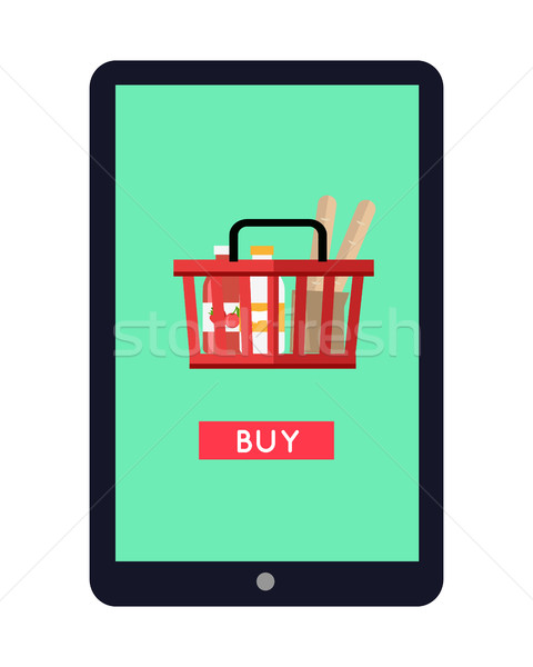 Stock photo: Tablet Computer with Shopping Basket on Screen