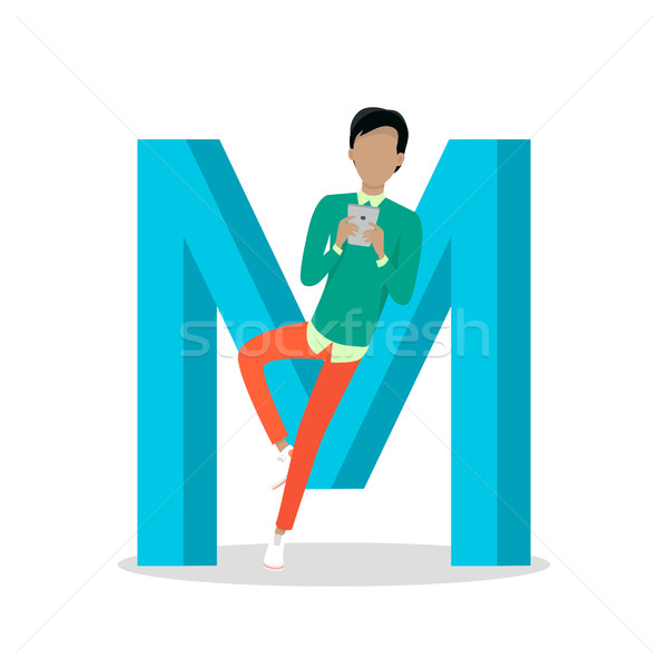 M Letter and Boy Chats on Smartphone. ABC Vector Stock photo © robuart