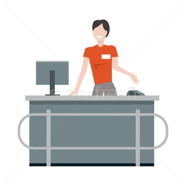 Cashier behind the store counter illustration. Stock photo © robuart