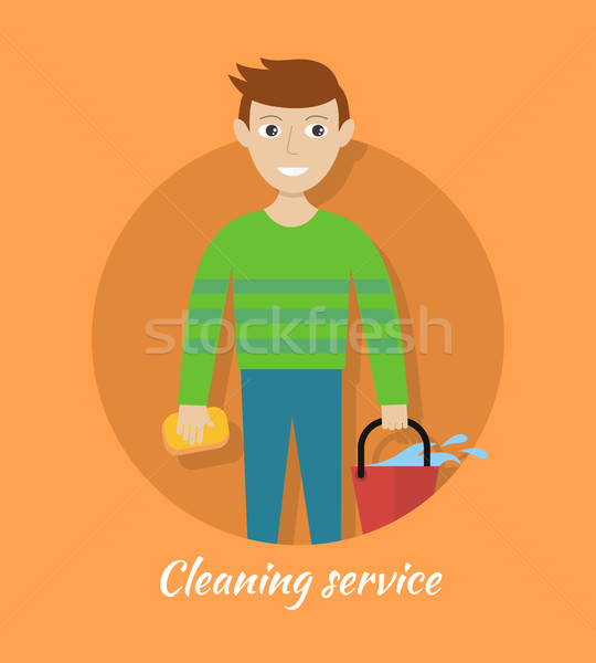 Member of Cleaning Service with Bucket and Sponge. Stock photo © robuart