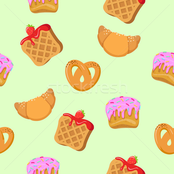 Seamless Pattern with Croissants, Wafers, Cupcakes Stock photo © robuart