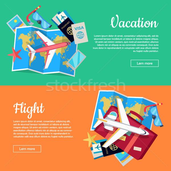 веб Баннеры бюро путешествий отпуск полет самолета Сток-фото © robuart