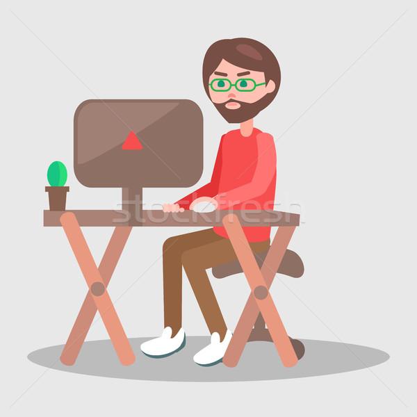 Stockfoto: Cartoon · man · tabel · computer · vector · mannelijke