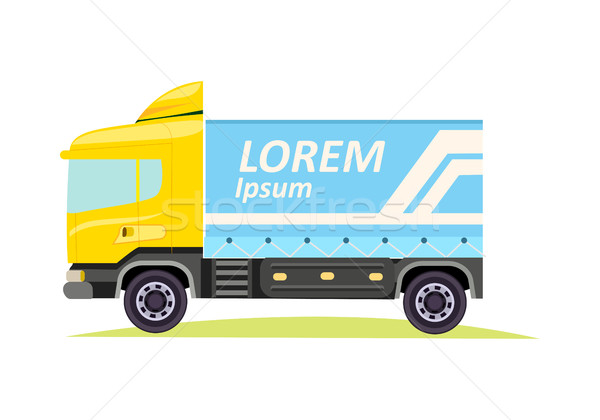 Blue Large Truck with Emblem on White Background Stock photo © robuart