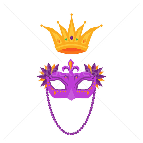 Mardi Gras. Mask and Crown Isolated Illustrations Stock photo © robuart