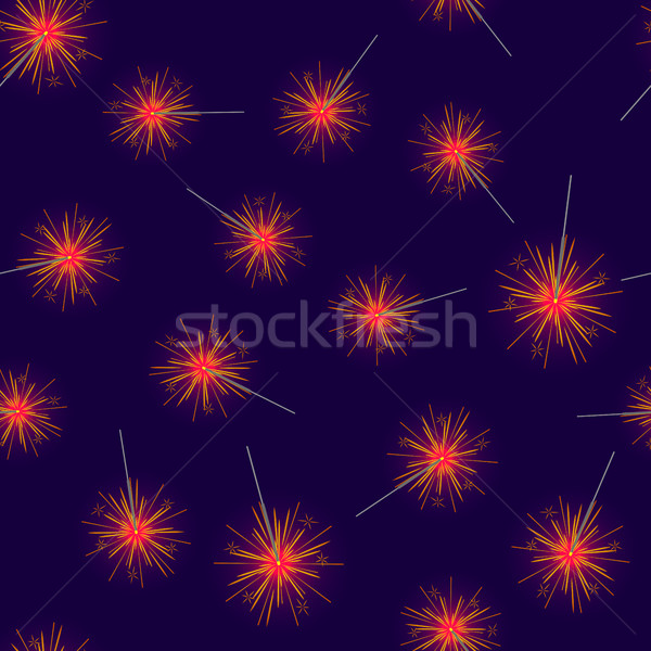 Seamless Pattern of Red Fireworks on Dark Blue Stock photo © robuart