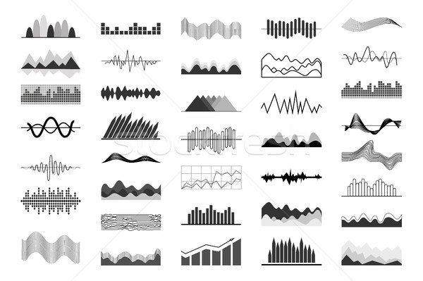 Black and White Charts and Sound Waves Indicators Stock photo © robuart