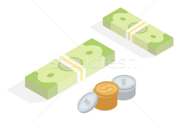 Money in Cash Isometric Projection Concept Stock photo © robuart