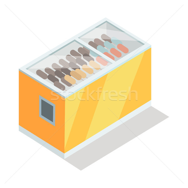 Ice-cream in Groceries Freezer Isometric Vector Stock photo © robuart