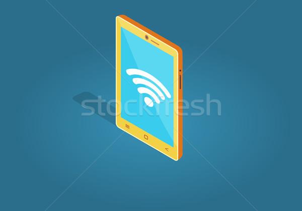 Geel wifi verbinding stijl geïsoleerd Stockfoto © robuart