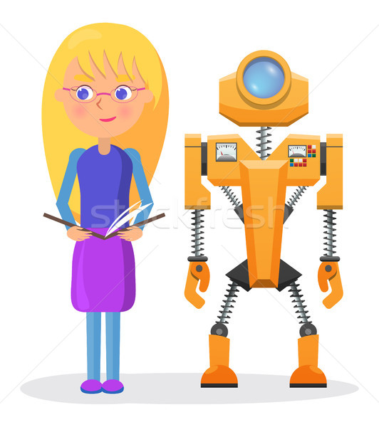 Blonde Girl in Glasses with Copybook and Robot Stock photo © robuart