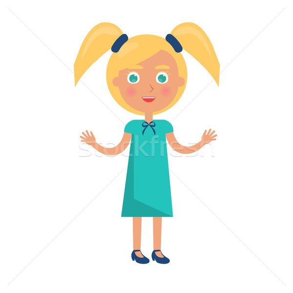 Blonde Girl with Ponytails in Happy Childrens Day Stock photo © robuart