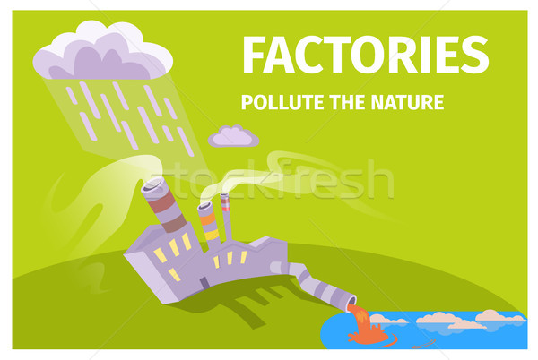 Factories Pollute Nature Ecology Themed Poster Stock photo © robuart