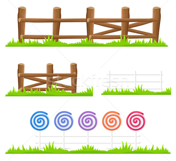 Wooden and Candy Fence Isolated Illustrations Set Stock photo © robuart