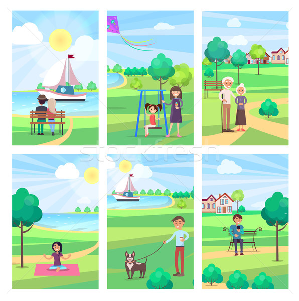 People Spending Free Time in Park Vector Poster Stock photo © robuart