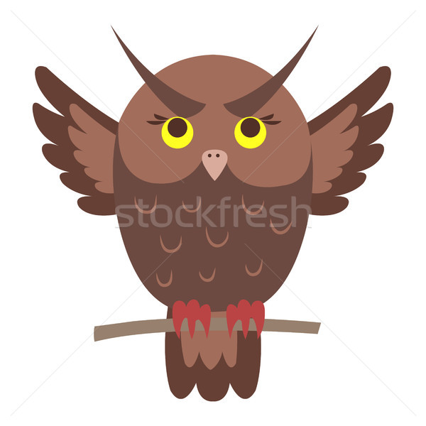 Cute Owl Cartoon Flat Vector Sticker or Icon Stock photo © robuart