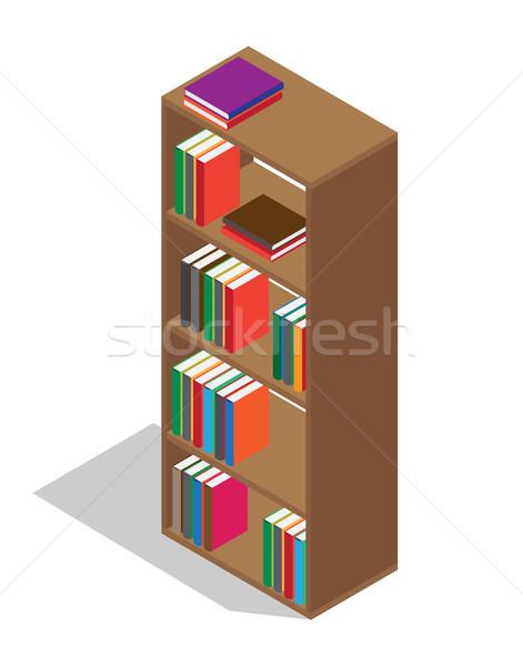 Wooden Bookcase Full of Textbooks Illustration Stock photo © robuart