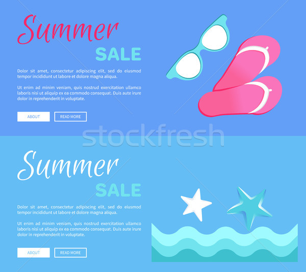 Hot Summer Poster with Flip-Flops Glasses ans Sea Stock photo © robuart