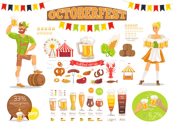Stock photo: Oktoberfest Vector Poster Depicting Food and Beer