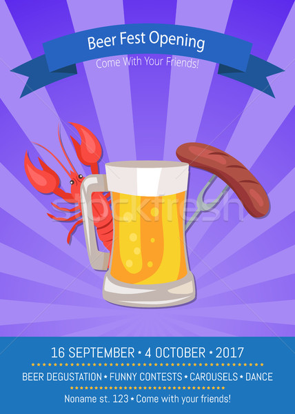 Beer Fest Opening Poster Vector Illustration. Stock photo © robuart