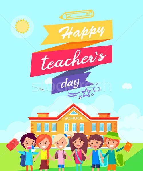 Happy Teachers Day Ribboned Vector Illustration Stock photo © robuart