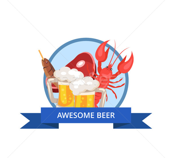 Awesome Beer Icon Vector Illustration on White Stock photo © robuart