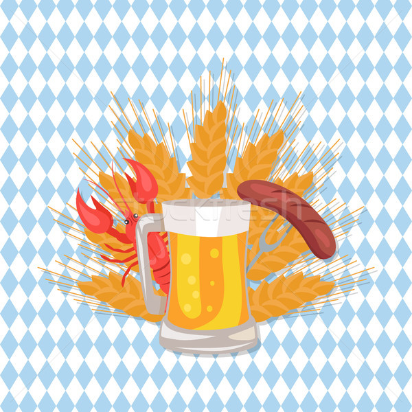 Glass of Beer with Grilled Sausage on Folk Vector Stock photo © robuart