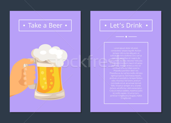 Take Beer and Let s Drink Set of Posters with Text Stock photo © robuart