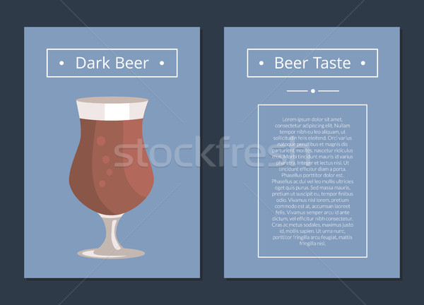 Dark Beer Set of Posters with Blue Background Stock photo © robuart