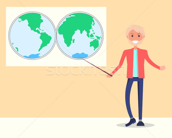 Smiling Teacher of Natural Sciences Stands Vector Stock photo © robuart