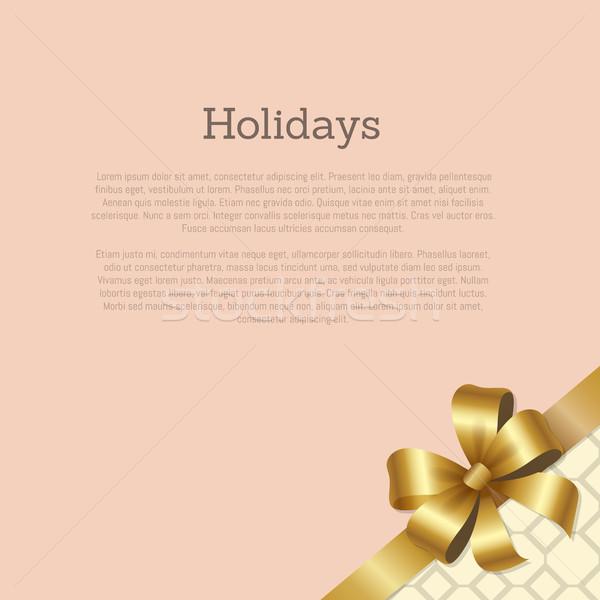 Stock fotó: ünnepek · ajándékutalvány · üdvözlőlap · terv · arany · íj